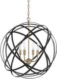 Capital Lighting Axis 60W 4-Light Candelabra E-12 Incandescent Pendant in Aged Brass C4234AB
