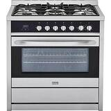 Haier America Trading 26-5/8 x 36-3/8 x 35-1/2 in. 36200 BTU Sealed 3.8 cf 5-Burner Gas Freestanding Range in Stainless Steel with Black HHCR6250AGS