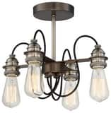 Minka-Lavery 40W 4-Light Semi-Flushmount Ceiling Fixture in Harvard Court Bronze with Pewter M4454784