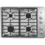 GE Appliances 30 in. Built-In 4-Burner Natural Gas Cooktop in Stainless Steel with Matte Black GJGP3530SLSS