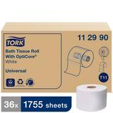 Tork Universal Bath Tissue Roll with OptiCore®, 1-Ply 1755-Sheets, White, T11 System T112990