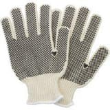 Safety Zone L Size Polyester, PVC and Cotton Double-sided Dot Gloves in Black and Natural (Case of 20 Dozen) SGSBDMN2P20