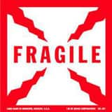 Box Packaging 4 x 4 in. Fragile Printed Label in Red and White BSCL501