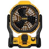 DEWALT 20V Max AC-DC Jobsite Portable Fan in Black with Yellow DDCE511B