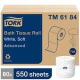 Tork 171-22/25 ft. x 3-97/100 in. Advanced Bath Tissue in White (Case of 96) TTM6184