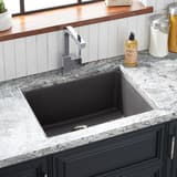 Signature Hardware Totten 25 x 22 in. No Hole Composite Single Bowl Dual Mount Kitchen Sink in Grey SHGR1B2522GY