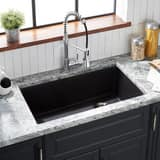 Signature Hardware Totten 33 x 22 in. No Hole Composite Single Bowl Dual Mount Kitchen Sink in Black SHGR1B3322BL