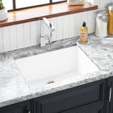 Signature Hardware Totten 25 x 22 in. No Hole Composite Single Bowl Dual Mount Kitchen Sink in White SHGR1B2522WH