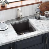 Mirabelle® Totten 16-5/8 x 16-5/8 in. 1-Bowl Undermount or Self-Rimming Granite Square Bar Sink with Rear Center Drain MIRGR1B1616