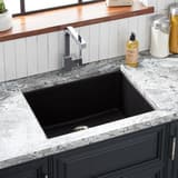 Signature Hardware Totten 25 x 22 in. No Hole Composite Single Bowl Dual Mount Kitchen Sink in Black SHGR1B2522BL