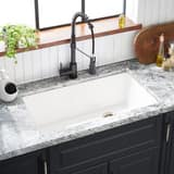 Signature Hardware Totten 33 x 22 in. No Hole Composite Single Bowl Dual Mount Kitchen Sink in White SHGR1B3322WH