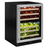 Marvel Industries 23-7/8 in. 4.9 cf Built-in High Efficiency Dual Zone Wine Refrigerator with Frame, Glass Door and Right Hinge in Stainless MML24WDG3RS