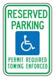 Accuform Signs 18 x 12 in. Engineer Grade Reserved Parking Permit Required Towing Enforced Sign in White AFRA187RA