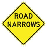 Accuform Signs 24 x 24 in. Engineer Grade Road Narrows Sign in Yellow AFRW434RA at Pollardwater