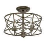 Millennium Lighting Lakewood 180W 3-Light Semi-Flush Mount Ceiling Fixture M2173