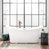Signature Hardware Otley 68-1/2 x 30-3/4 in. Freestanding Bathtub Center Drain in White with Polished Brass Trim SH442092