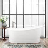 Signature Hardware Royston 66 x 34-1/2 in. Freestanding Bathtub End Drain in White with Chrome Trim SH442188