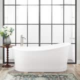 Signature Hardware Royston 66 x 34-1/2 in. Freestanding Bathtub End Drain in White with Polished Nickel Trim SH442191