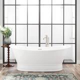 Signature Hardware Desborough 69 x 31-1/8 in. Freestanding Bathtub Center Drain in White with Oil Rubbed Bronze Trim SH442161