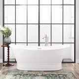 Signature Hardware Desborough 69 x 31-1/8 in. Freestanding Bathtub Center Drain in White with Polished Brass Trim SH442162