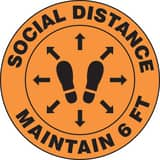 Accuform Signs Slip-Gard™ 12 in. Social Distance Maintain 6 FT Floor Sign AMFS384