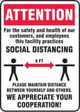 Accuform Signs 10 x 7 in. Polyethylene Attention Social Distancing Cooperation Sign AMGNG901VP