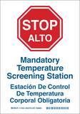 Brady Worldwide 10 x 7 in. Stop Mandatory Temperature Screening Station Sign B170534