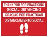 Brady Worldwide 8-1/2 x 11 in. Thank You for Practicing Social Distancing Sign B170533